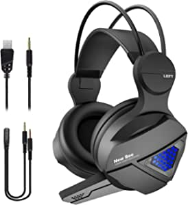 Gaming Headset New bee Stereo Over Ear Headphone for PS4, PC, Xbox One Controller with Mic, LED Light 3.5mm Wired Volume Control Soft Memory Earmuffs for Laptop, Mac, iPad, Nintendo Switch Games