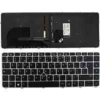 Keyboards4Laptops HP EliteBook 840 G3 con Pointer Marco Plata Retroiluminada Negro Windows 8 Layout Francés Teclado de Repuesto para Ordenador portátil