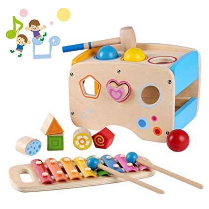 Wondertoys Wooden Toddlers Musical Toys Pound & Tap Bench Slide Out  Xylophone with Mallet 3 Balls Shape Sorter Early Development Games for  Toddler