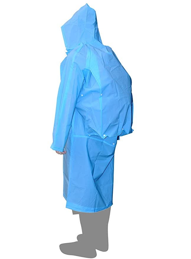 AIRCEE Lightweight Raincoat Rain Cape Poncho /w Backpack Position (Blue)