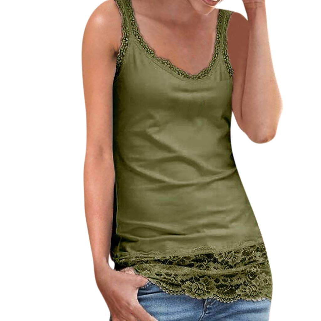 NUWFOR Women's Fashion Sexy Sleeveless Lace Patchwork Tank Tops Beach Wear Blouse(Green,US XS Bust:29.4'')