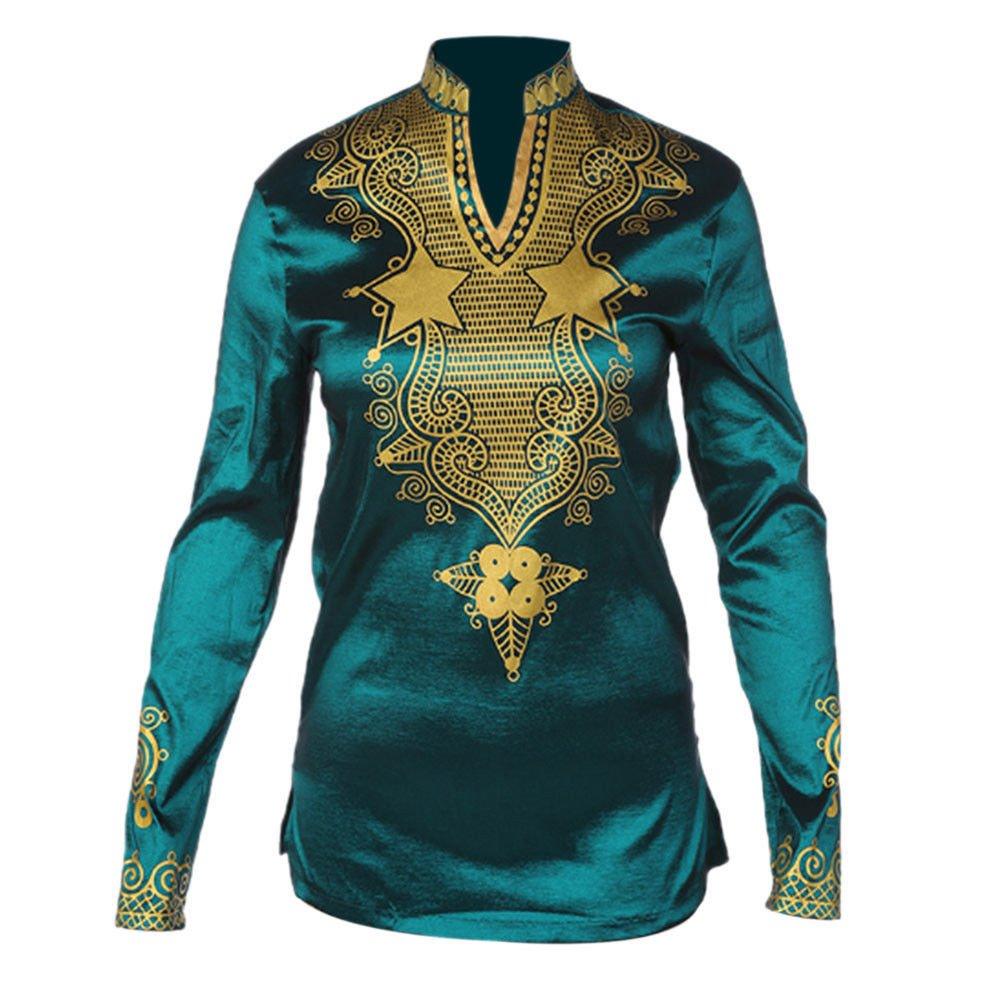 Hzjundasi Herren Retro afrikanisch Tradition Festival Kleidung V-Ausschnitt Tops Tribal Hemd Gedruckt Lange Ärmel Dashiki