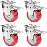 "SIBY 4"" Caster Wheels Swivel Plate With Brake For Loding Trolley Truck Office Chair Caster Furniture Wheels 360° Swivel Top Plate Caster Wheel for Furniture Trolley Dining Car, 1Pc(Red)"