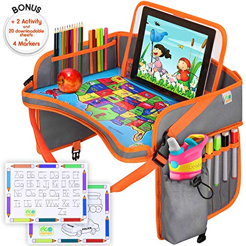 Sale!! US Kids Travel Car Seat Tray - Toddlers Carseat Tray Organizer - Large Tablet & Cup Holder - ...