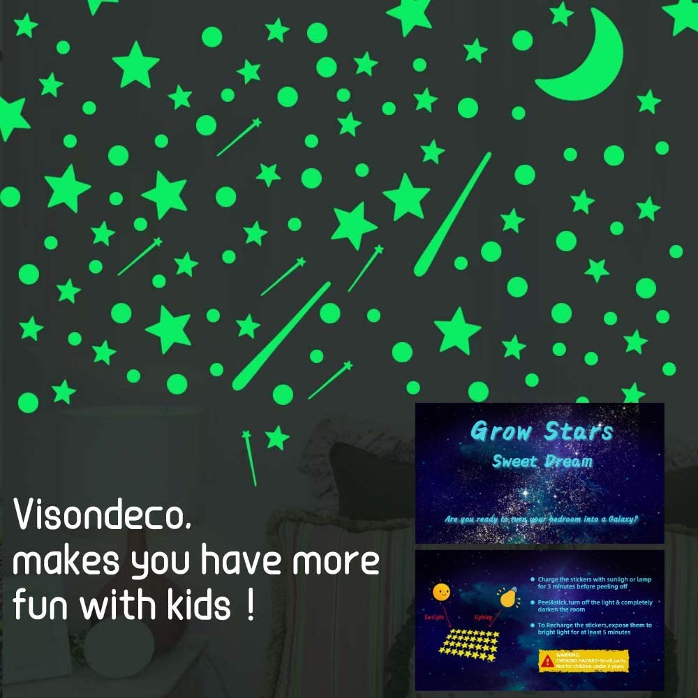 Glow in The Dark Stars for Ceiling 361pcs Glow in The Dark Stickers for Kids Room and Ceiling Perfect for Bedding Room Gifts and Decorations