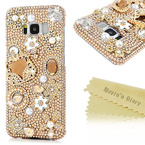 Galaxy S8 Case,Samsung Galaxy S8 Case 3D Handmade Bling Gold Diamond Bag Flowers Silver Crown with Shiny Sparkle Rhinestone Gems Crystal Clear Full Bo…
