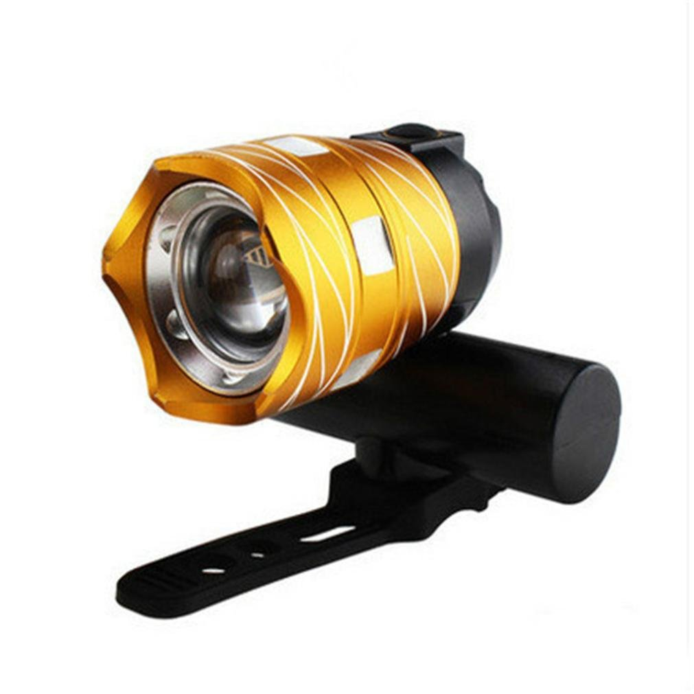 Dartphew Bike Accessories,Fashion Durable T6 LED Cycling Bike Bicycle Head Light Flashlight With 3 Modes Torch USB For Outdoor Hiking Camping Hunting Fishing Cycling Running (Gold)