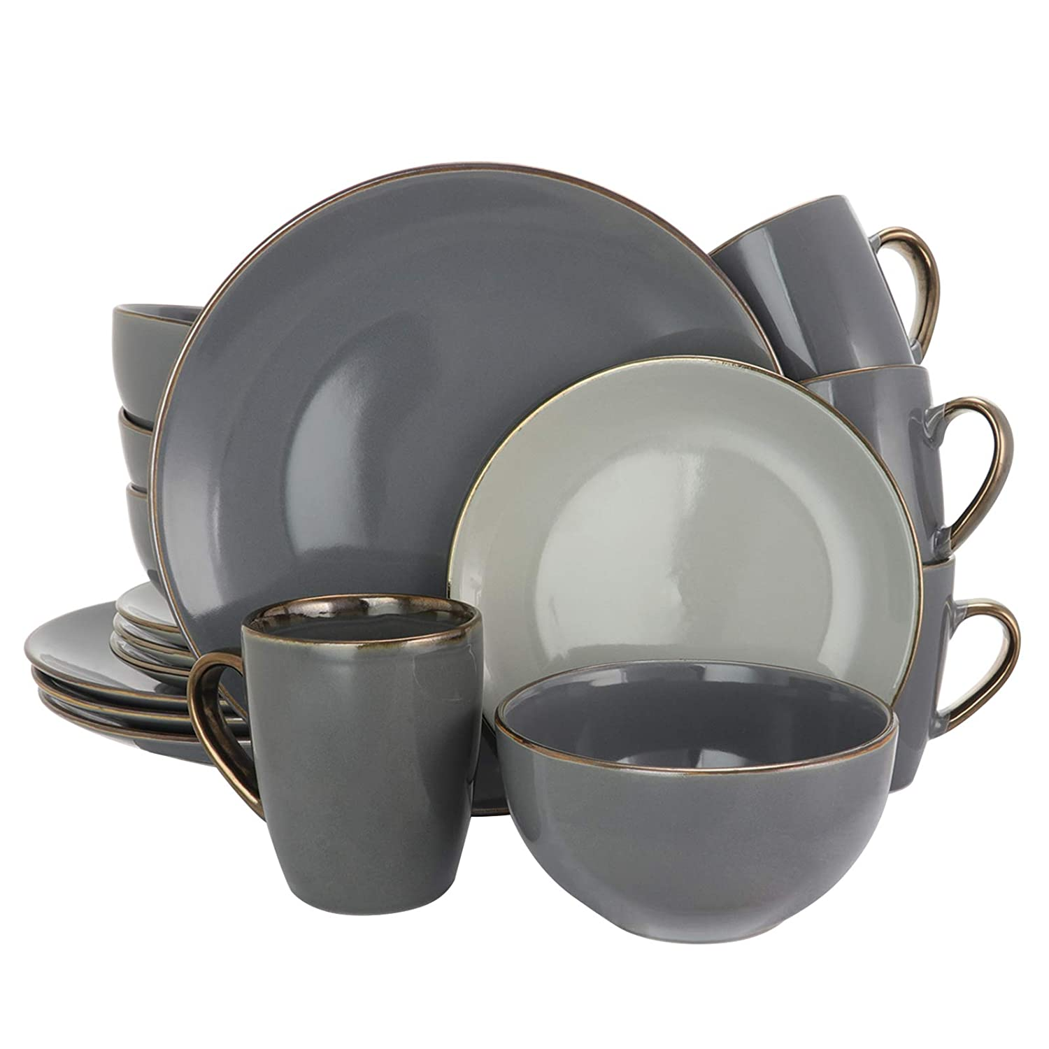 Elama EL-TAHITIANGRAND Tahitian Grand 16 Piece Luxurious Stoneware Dinnerware Stone and Slate with Complete Setting for 4, 16pc, Assorted Colors