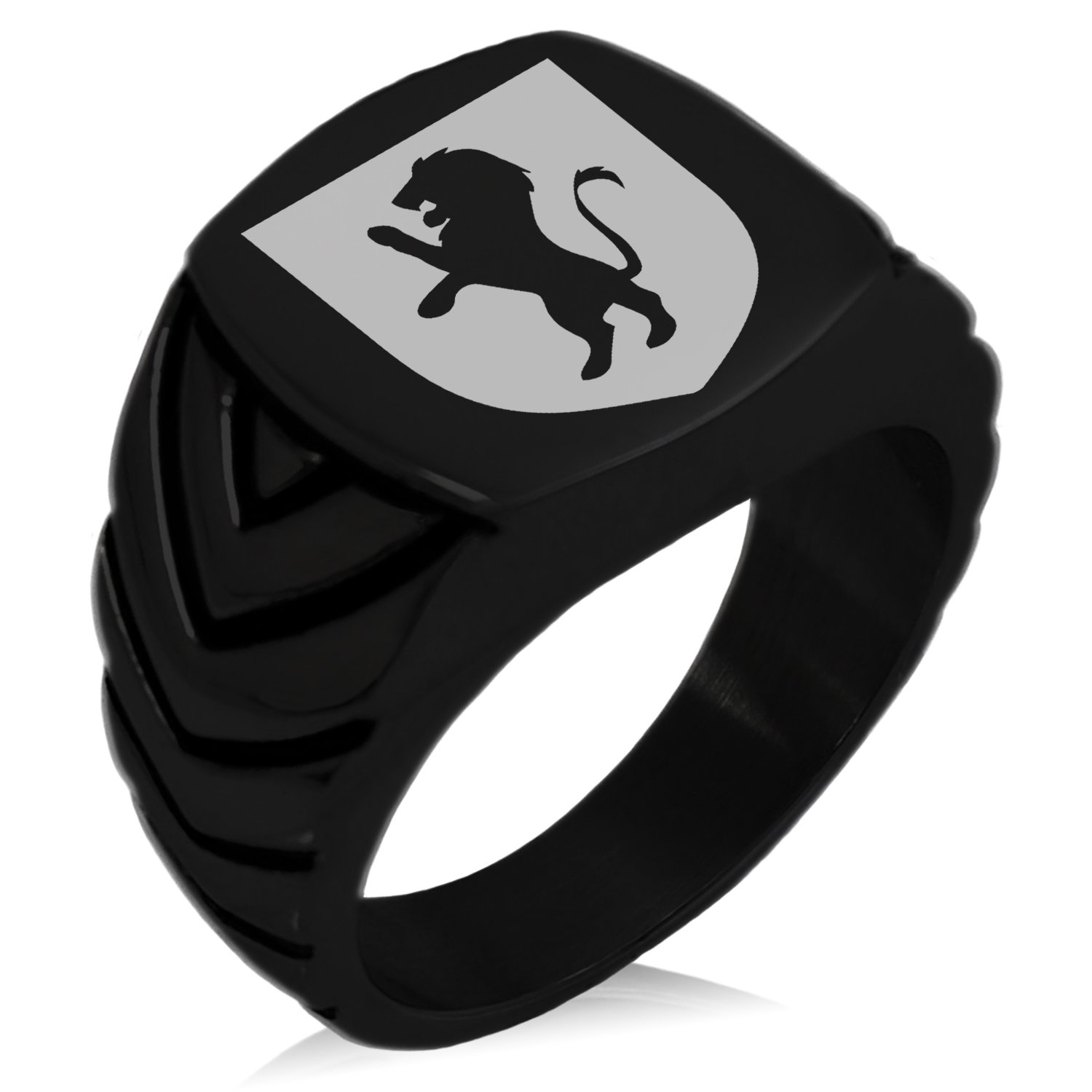 Black IP Plated Stainless Steel Lion Courage Coat of Arms Shield Engraved Chevron Pattern Biker Style Polished Ring, Size 9