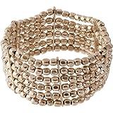 81stgeneration Bracelet ton argent laiton petite perle stretch réglable 6 Line