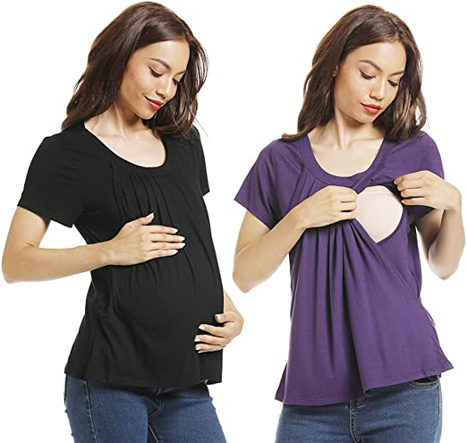 Ladies Women Short-Sleeve Breastfeeding Pleated T-shirt Casual Pregnant Clothes