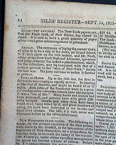 JEWISH CITY CREATION Jews Grand Island Niagara River New York 1825 Old Newspaper NILES' WEEKLY REGISTER, Baltimore, Sept.24, 1825