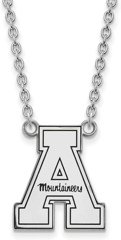 925 Silver Rhodium-plated Laser-cut Appalachian State University Enameled Large Pendant w//Necklace 18