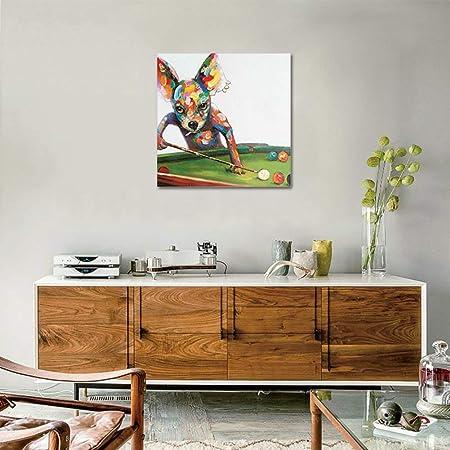 Pintado a Mano Perro Jugando Billar Pintura al óleo para Hogar Dormitorio Decoración Pintura Acrilica Lienzo Pared Arte Cuadro,Withframe,50x50cm: Amazon.es: Hogar