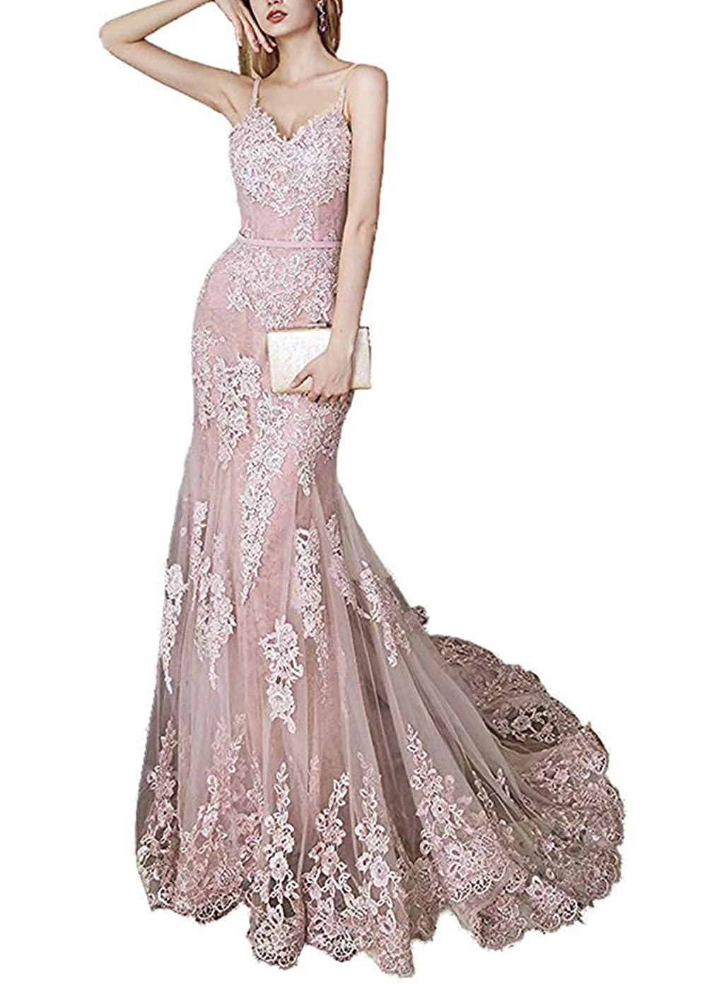 bluesh Pink formalmall Women's Spaghetti Straps Mermaid Prom Dresses Long 2019 Lace Celebrity Wedding Gown with Train