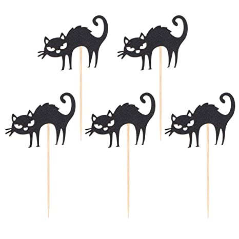 Amosfun 5 piezas toppers de pastel de halloween papel gato ...