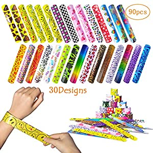 Fullsexy 90 Pcs Slap Bracelets Party Favor Pack (30 Design), Colorful Slap Bands Toys with Hearts, Emoji, Animal Prints for Kids Adults Birthday Party Supplies, School Classroom Prize Gifts