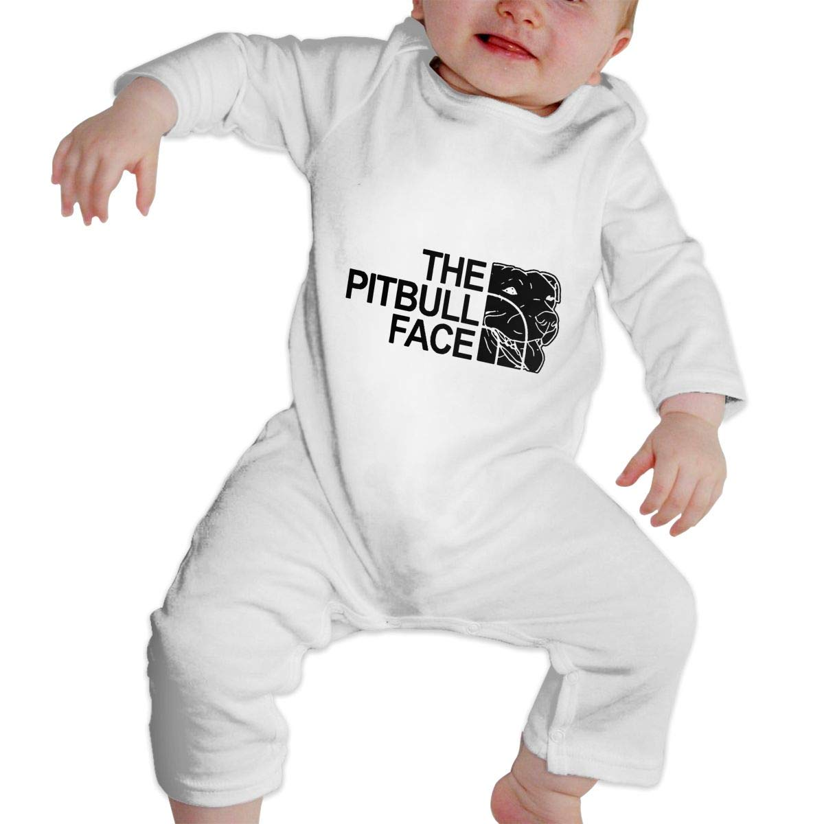 KAYERDELLE The Pitbull Face Long-Sleeve Unisex Baby Bodysuits for 6-24 Months Infant