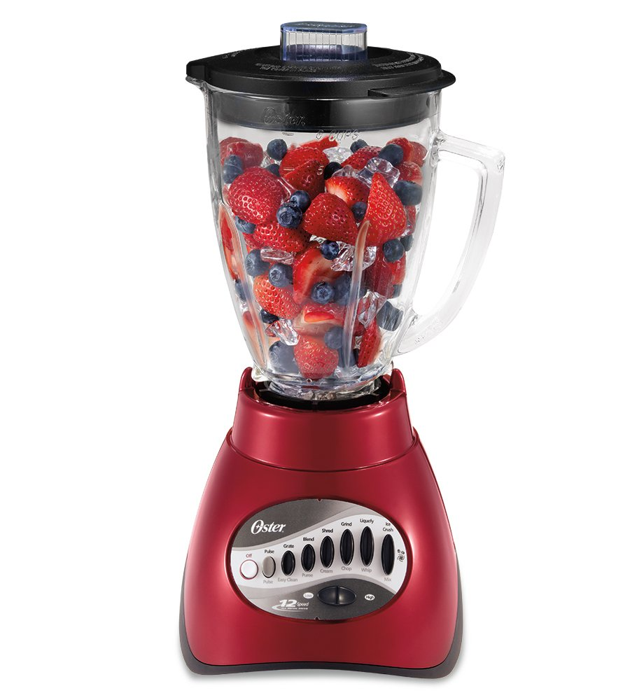 Oster 6844 6-Cup Glass Jar 12-Speed Blender, Metallic Red