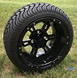 12'' RUCKUS Gloss BLACK Wheels and 215/35-12'' DOT Low Profile Tires Combo - Set of 4 (METRIC LUGS 12MMx1.25 (Yamaha, Star))