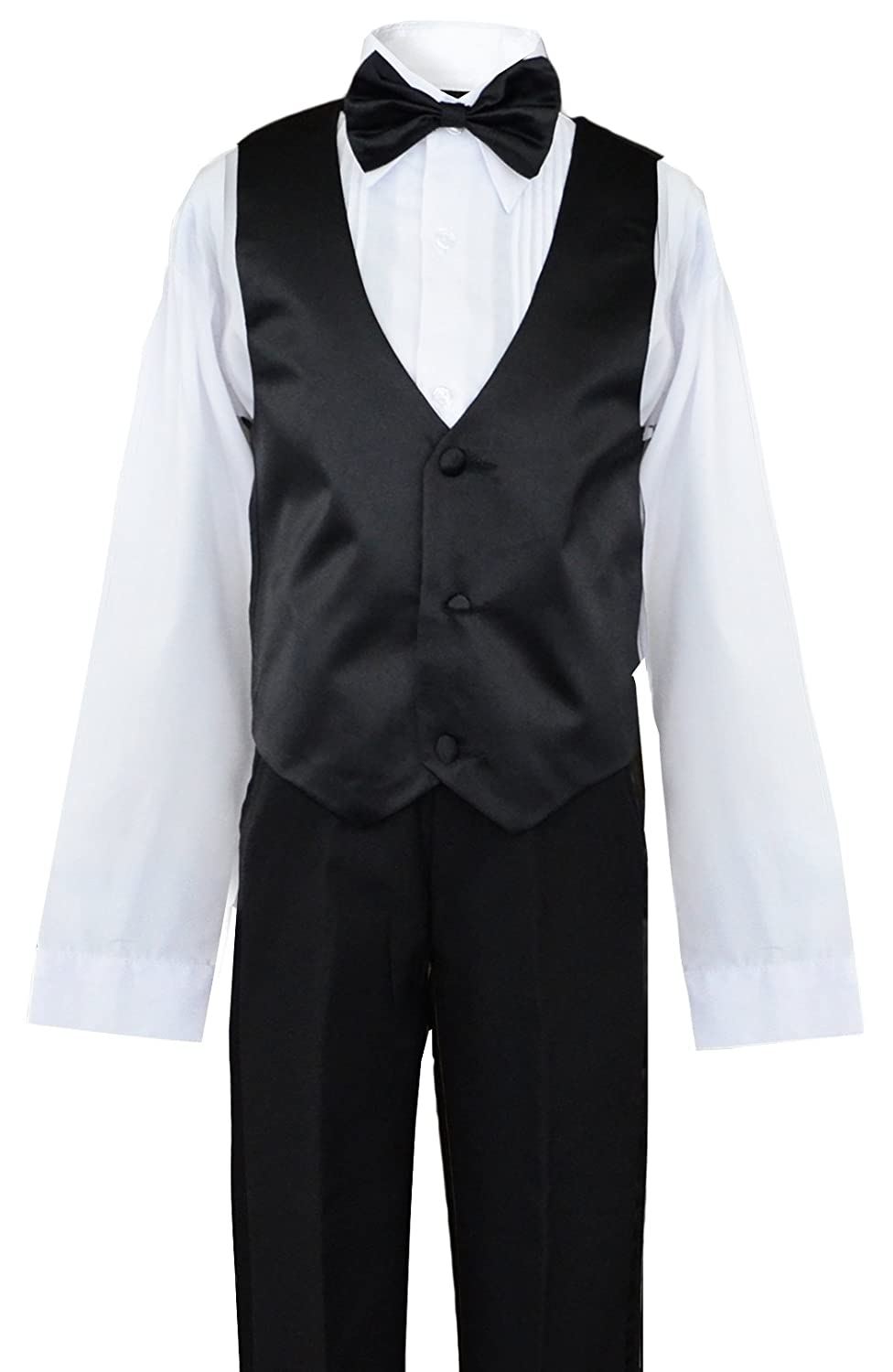 Formal Tuxedo Dress Suit in black with a Fuchsia Long Neck Tie