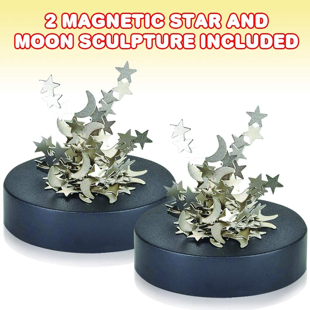 Stress-Relief Magnet Fidget Toys for Adults Fun Office Desk Accessories ArtCreativity Magnetic Moons and Stars Sculpture Set of 2 Stocking Stuffers and Educational Development Toys for Kids