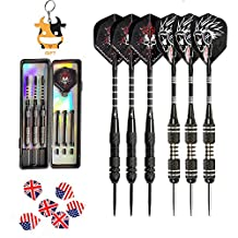 Darts 6 PACK 6PCS 24 Grams Brass Barrels Stainless Steel Needle Tip Aluminum Shaft Flights Dart With 6 Free PVC Shafts Rods, 6 thick PET flights and 2 Free PVC Boxes UMsky