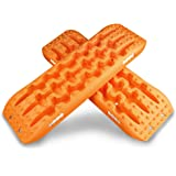 X-BULL Recovery tracks 10T Sand tracks Traction Boards Mud Snow Grass 4WD Track Tyre Ladder1Pair Orange 2PCS