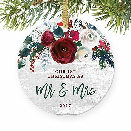 Modern Farmhouse Mr & Mrs Ornament 2017, 1st Christmas Married, First Gift for Newlywed Couple Bride Groom Rustic Present Ceramic Keepsake Present 3