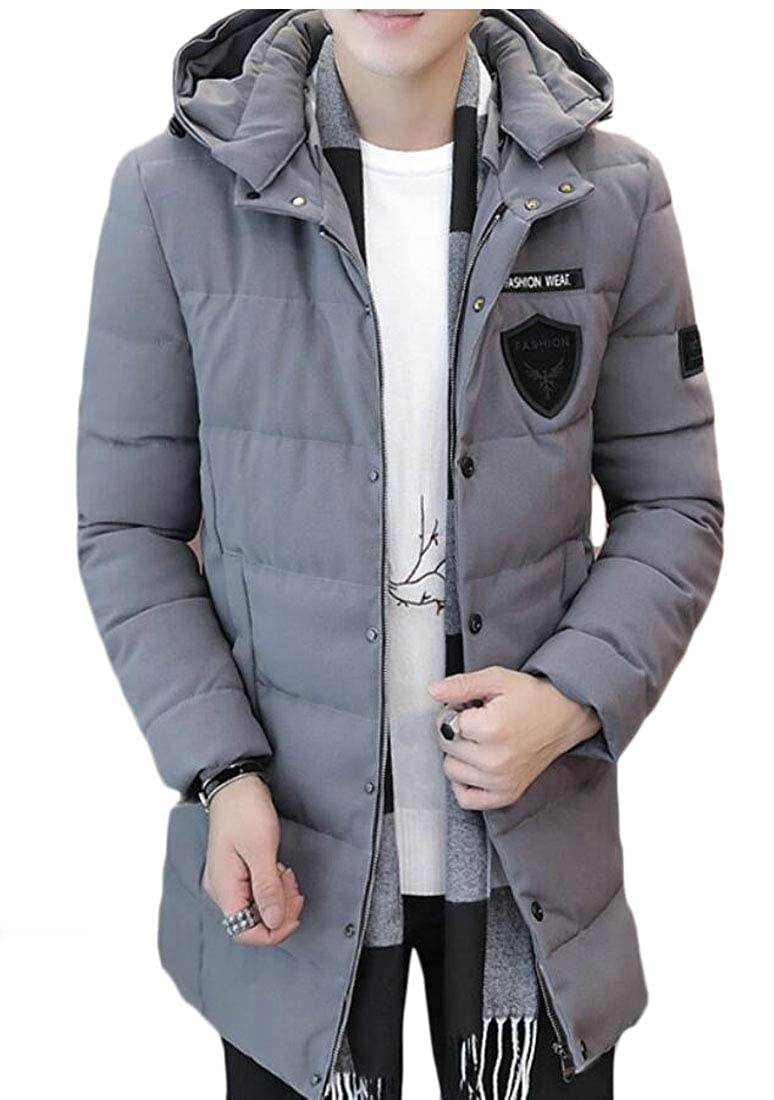 Keaac Men Winter Thicken Hooded Mid Long Coat Jacket