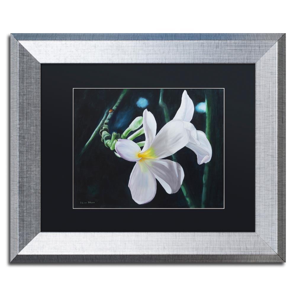 Trademark Fine Art White Frangipani by Lily Van Bienen Wall Art, Black Matte, Silver Frame 16x20