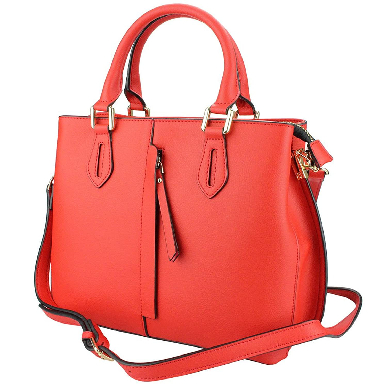 MuLier Large Handbag Front Vertical Zipper Pocket Real Leather Women Fashion Shoulder Bag Red