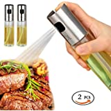 Olive Oil and Vinegar Dispenser Sprayers Set Pump Glass Bottles(2 PCS) For Kitchen Cooking, Baking, Grilling