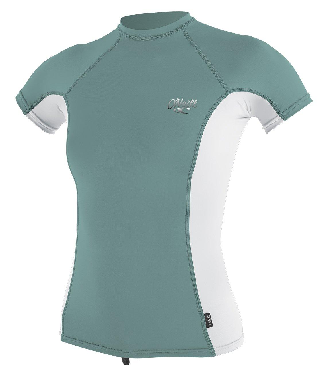 O'Neill Women's Premium Skins UPF 50+ Short Sleeve Rash Guard, AquaHaze/White, X-Small by O'Neill Wetsuits