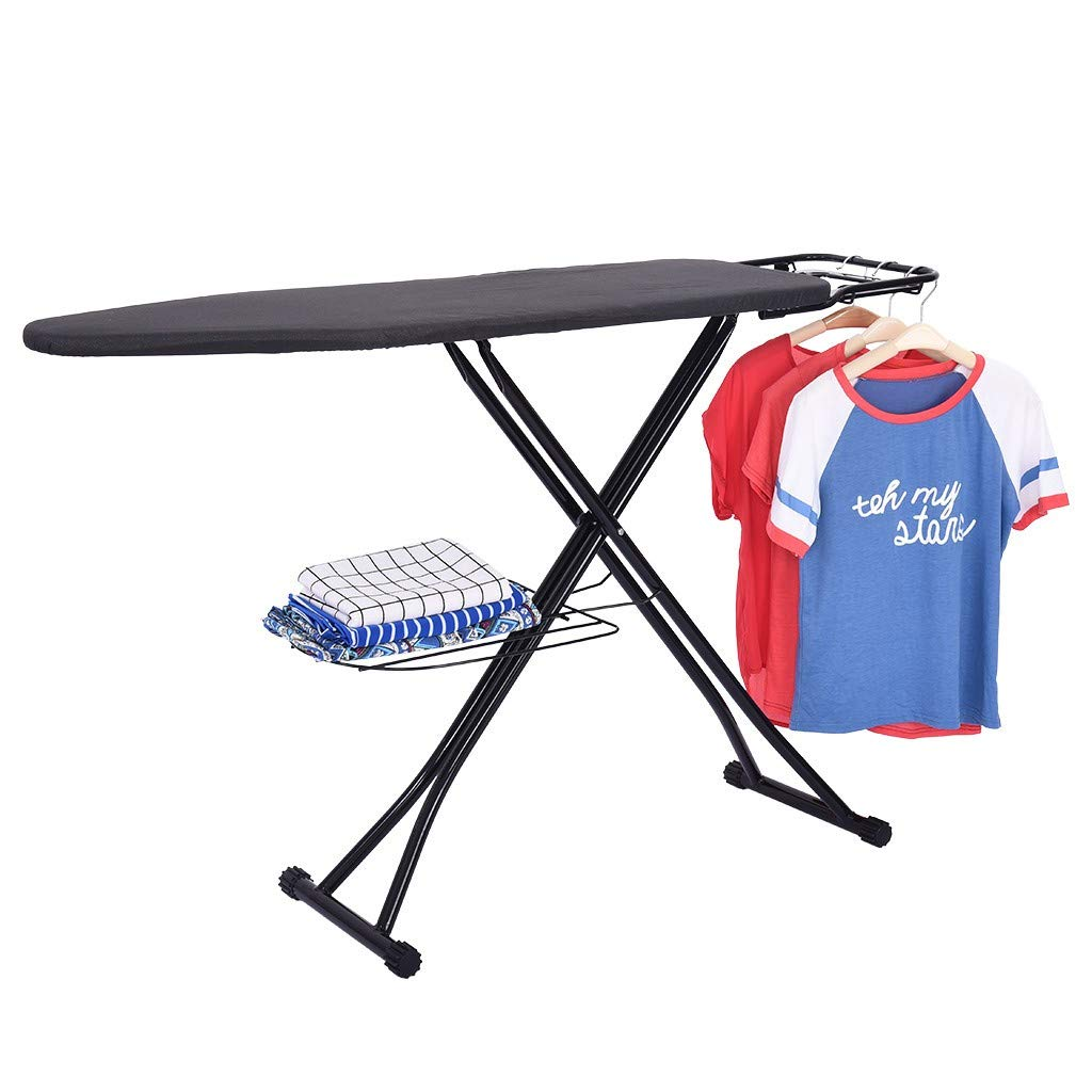 Transser Adjustable Ironing Board with Cotton Cover & Alloy Steel & Cloth Storage Rack | Iron Holder Stand | Stability Space Saver | Easy Storage | 48 x 15 inches | Shipping From CA. or NJ.