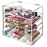 Deluxe Clear Acrylic 4 Drawers & Top Hinged Lid Compartment Cosmetics / Makeup Storage Organizer Cabinet