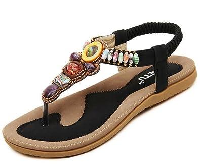 33567ad3ad1352 Life Plaza Women Bohemian Flat Bead Sandal Gladiator Shoes Rhinestone Thong  Yoga Flip Flops