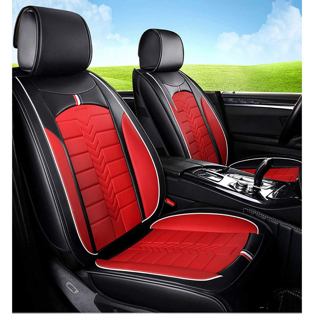 JIANPING Car Seat Cover Four Seasons Pad Compatible Airbag Seat Protector Waterproof Front and Rear Seat 5 Seat Full Set of Universal Leather car Seasons seat Cover (Color : Red)