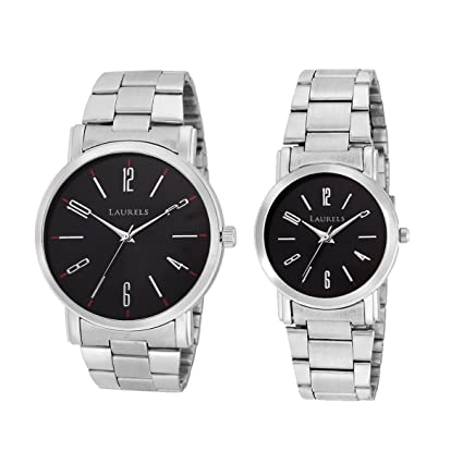 Black Color Analog Couple's Watch With Metal Chain: LWP-SVT-020707