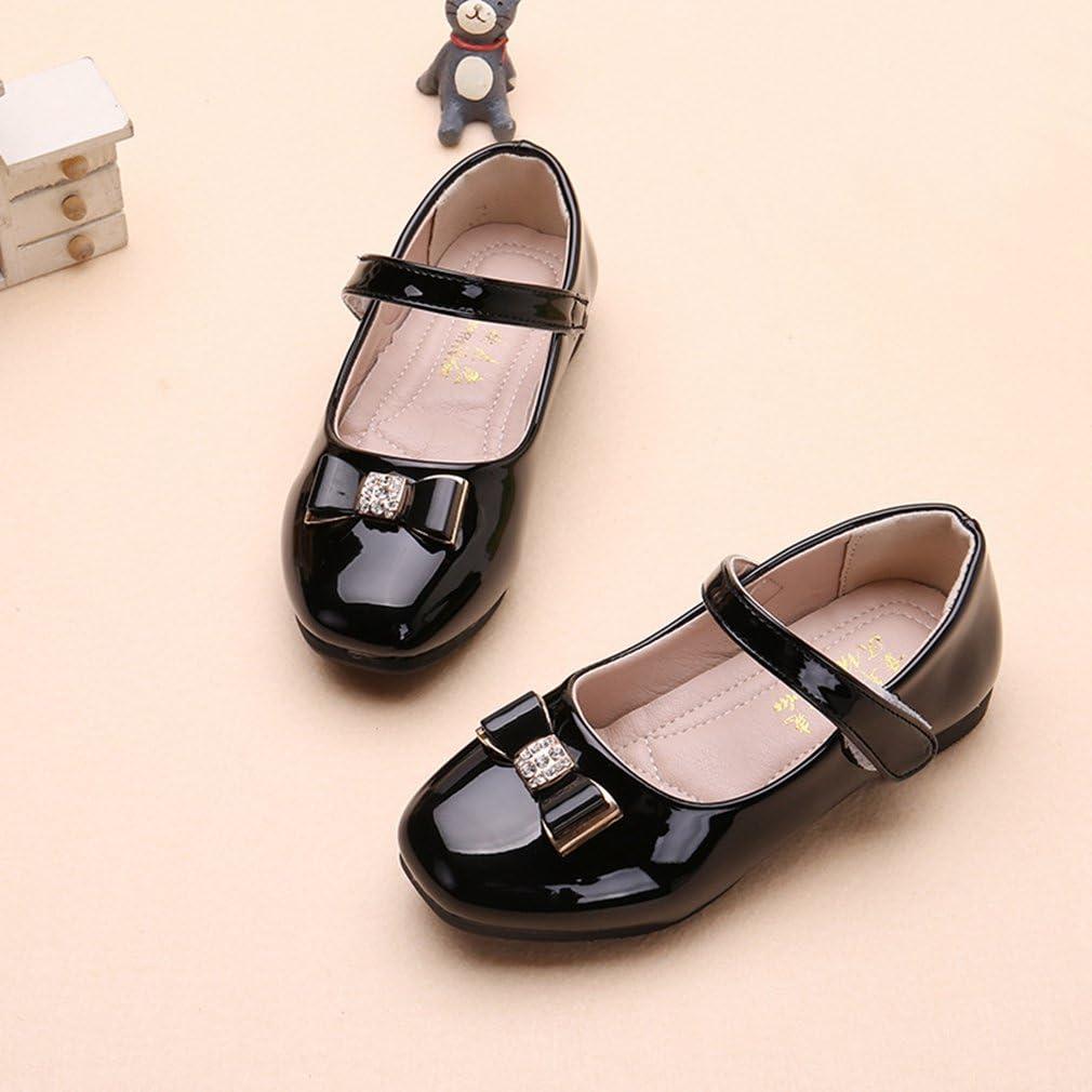 CYBLING Kids Girls Ballet Flats School Uniform Dress Shoe Mary Jane Bow Party Patent Ballerina Flat