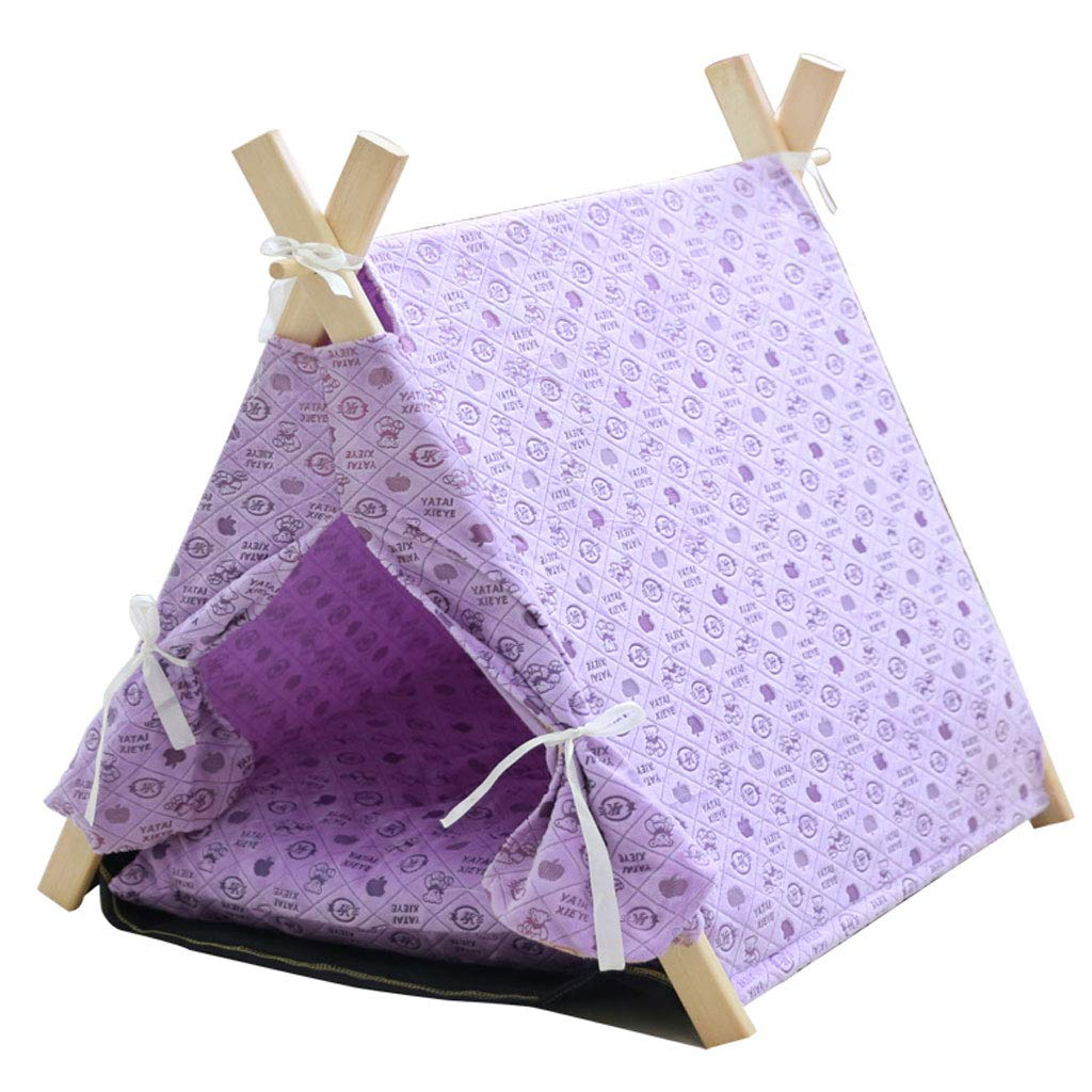 Purple 55x55x64cm Purple 55x55x64cm LZY pet bed- Fully Removable And Washable Pet Nest Kennel Small Tent Yurt To Keep Warm (color   Purple, Size   55x55x64cm)