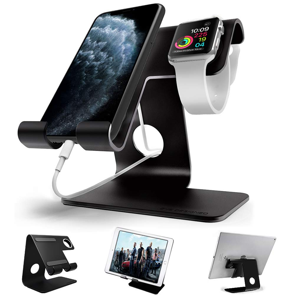Apple Watch Stand, ZVEproof 2 in 1 Universal Desktop Cellphone Stand and Apple Watch Stand, Aluminum iWatch iPhone Tablet Charging Station Stand Dock for Phone and Apple Watch (38mm and 42mm), Black