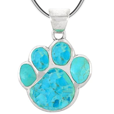 Amazon dog paw pendant necklace 925 sterling silver genuine dog paw pendant necklace 925 sterling silver genuine turquoise 20quot aloadofball Gallery