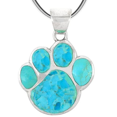 Dog Paw Pendant Necklace in 925 Sterling Silver with Genuine Turquoise Gemstones