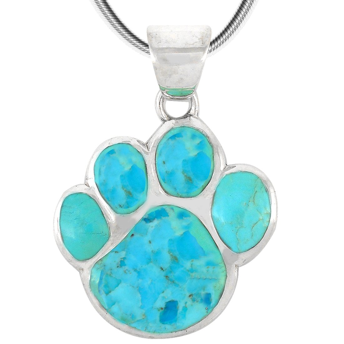 Dog Paw Pendant Necklace 925 Sterling Silver & Genuine Turquoise (20'', Turquoise)