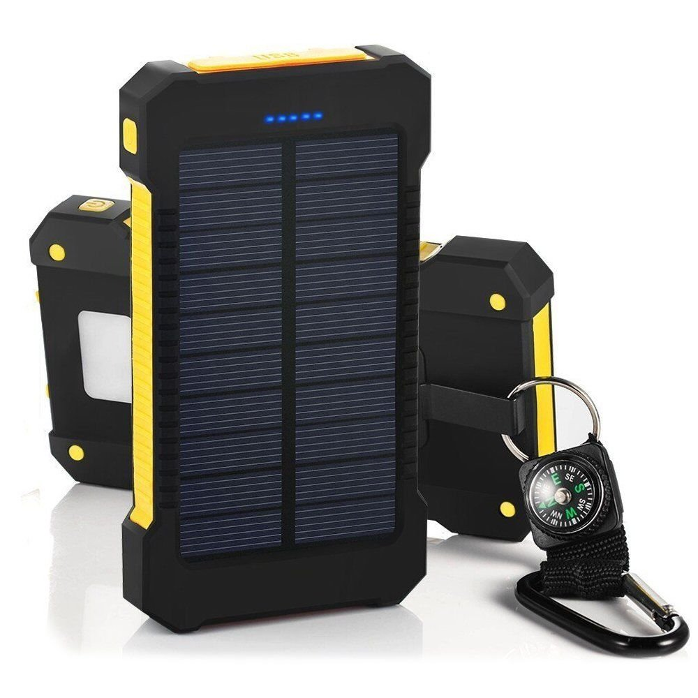 30000mAh Portable Solar Charger, BBtech Waterproof Dual USB External Battery Power Bank Shockproof Battery Panal Double USB Bank Backup Pack iPhone, Samsung All USB Devices (Yellow)