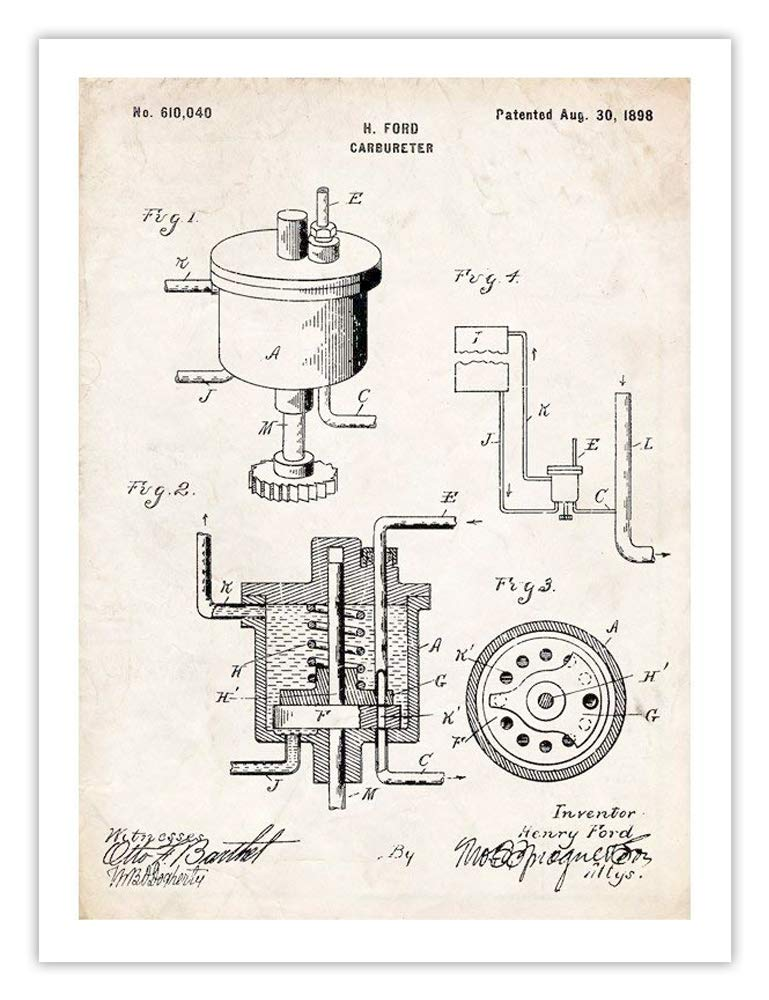 Amazon Com Carburetor Invention Henry Ford 1898 Us Patent Art
