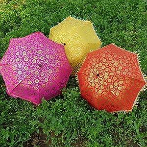 Worldoftextile 10 Pcs Mix Lot Indian Wedding Umbrella Handmade Umbrella Decorations Vintage Parasols Cotton Umbrellas