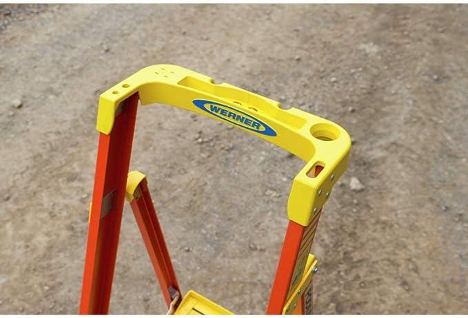 25 Year Guarantee Heavy Duty 136Kg Load Capacity Werner Fibreglass Podium Ladder 3 Tread ANSI certification