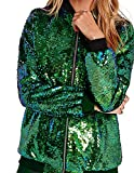 HaoDuoYi Womens Sparkle Mermaid Sequin Long Sleeve Zipper Front Bomber Jacket